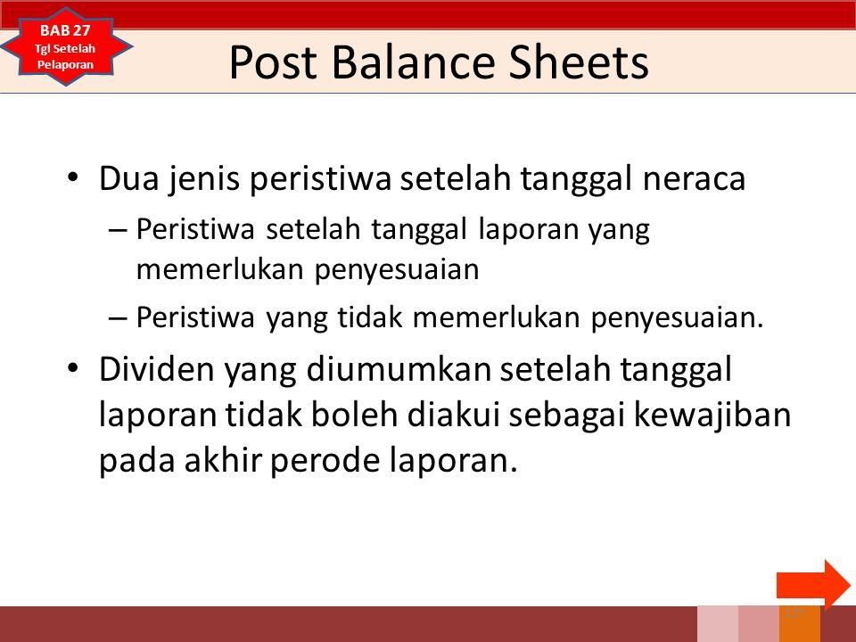 Post Balance Sheets Dua jenis peristiwa setelah tanggal neraca