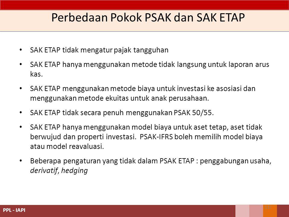 Perbedaan Pokok PSAK dan SAK ETAP