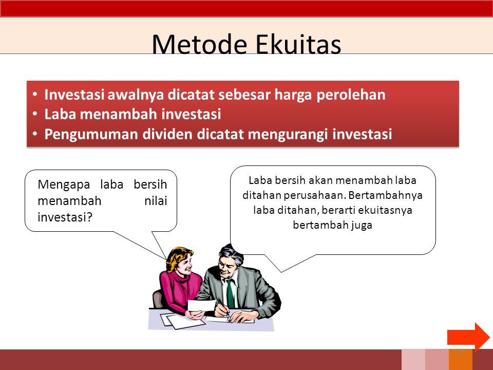 Metode Ekuitas Investasi awalnya dicatat sebesar harga perolehan