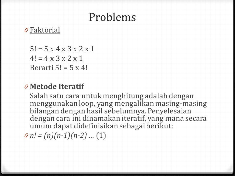 Problems Faktorial 5! = 5 x 4 x 3 x 2 x 1 4! = 4 x 3 x 2 x 1