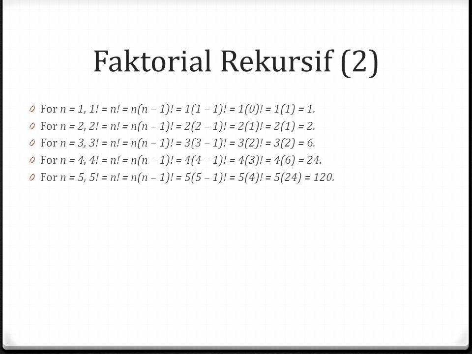 Faktorial Rekursif (2) For n = 1, 1! = n! = n(n – 1)! = 1(1 – 1)! = 1(0)! = 1(1) = 1. For n = 2, 2! = n! = n(n – 1)! = 2(2 – 1)! = 2(1)! = 2(1) = 2.