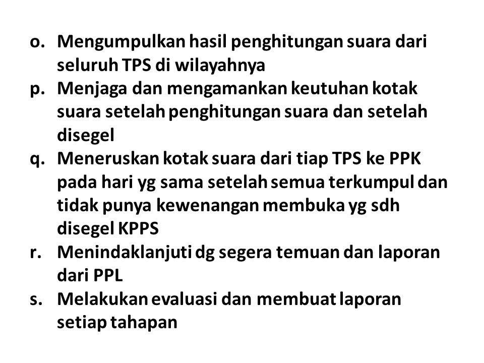 Mengumpulkan hasil penghitungan suara dari seluruh TPS di wilayahnya