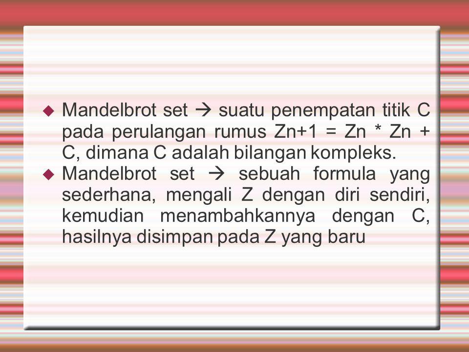 Mandelbrot set  suatu penempatan titik C pada perulangan rumus Zn+1 = Zn * Zn + C, dimana C adalah bilangan kompleks.