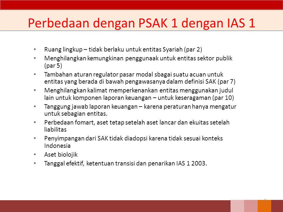 Perbedaan dengan PSAK 1 dengan IAS 1
