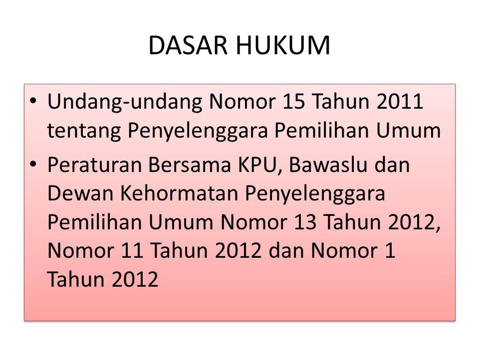 DASAR HUKUM Undang-undang Nomor 15 Tahun 2011 tentang Penyelenggara Pemilihan Umum.