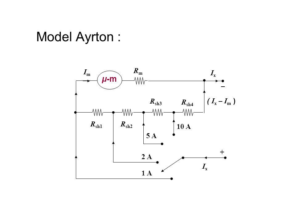 Model Ayrton : μ-m Im Rm Ix _ Rsh3 Rsh4 ( Ix – Im ) Rsh1 Rsh2 10 A 5 A