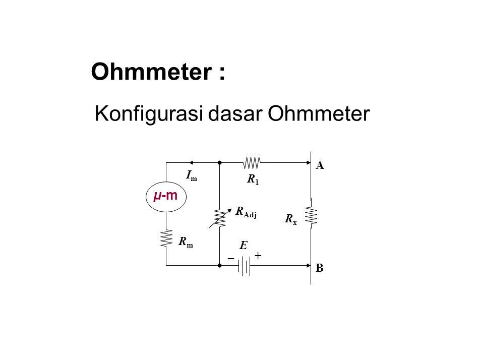 Ohmmeter : Konfigurasi dasar Ohmmeter R1 E Im μ-m Rm Rx RAdj _ + B A