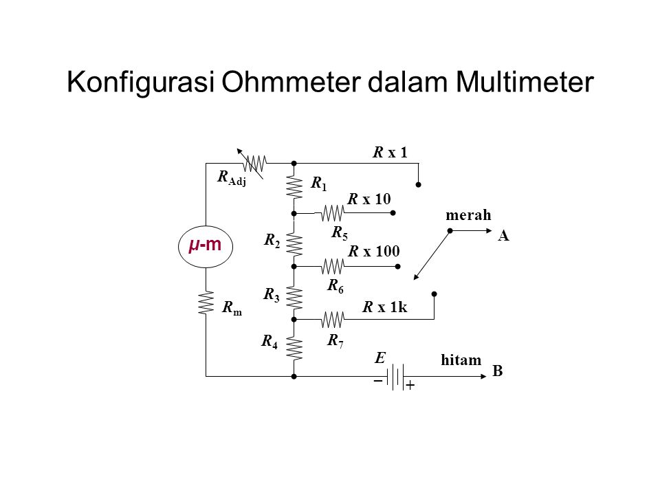 Konfigurasi Ohmmeter dalam Multimeter