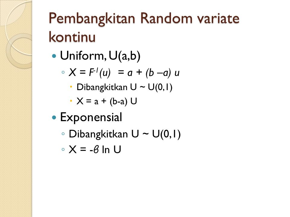 Pembangkitan Random variate kontinu