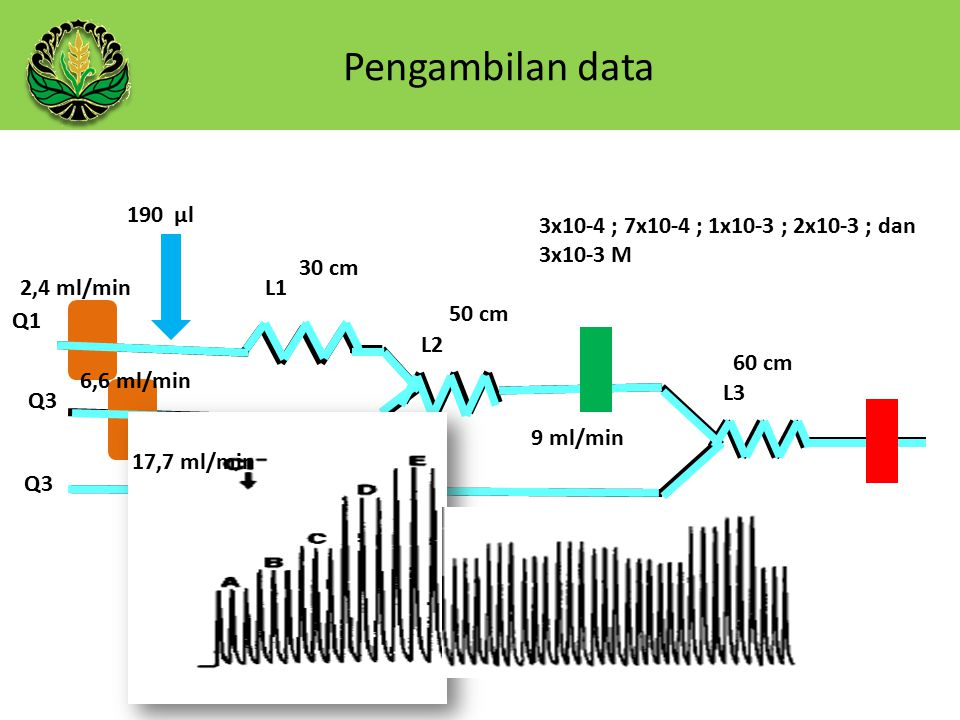 Pengambilan data 190 µl. 3x10-4 ; 7x10-4 ; 1x10-3 ; 2x10-3 ; dan 3x10-3 M. 30 cm. 2,4 ml/min. L1.