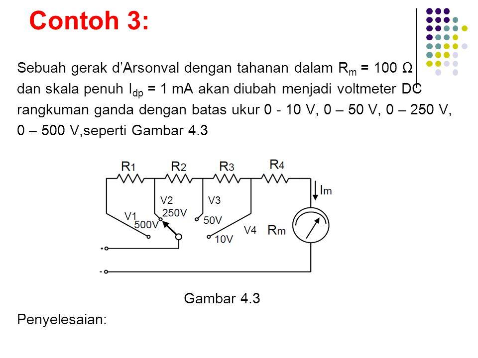 Contoh 3: Sebuah gerak d'Arsonval dengan tahanan dalam Rm = 100 Ω