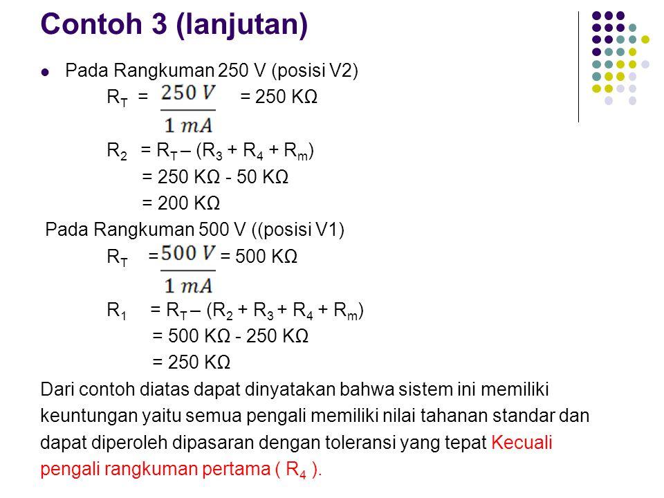 Contoh 3 (lanjutan) Pada Rangkuman 250 V (posisi V2) RT = = 250 KΩ