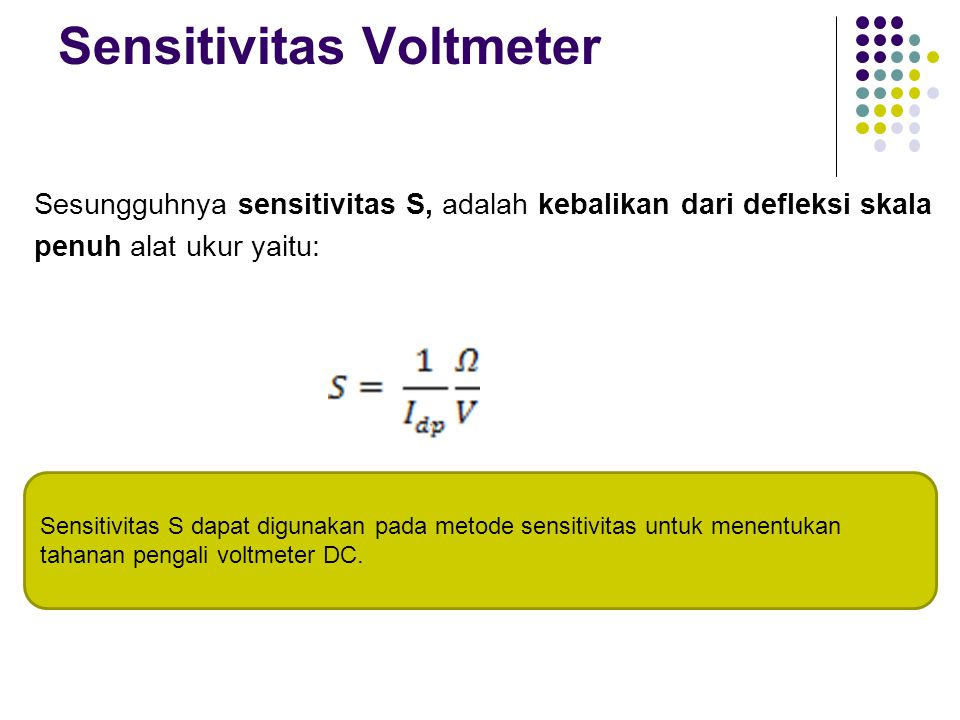 Sensitivitas Voltmeter