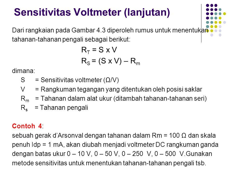 Sensitivitas Voltmeter (lanjutan)