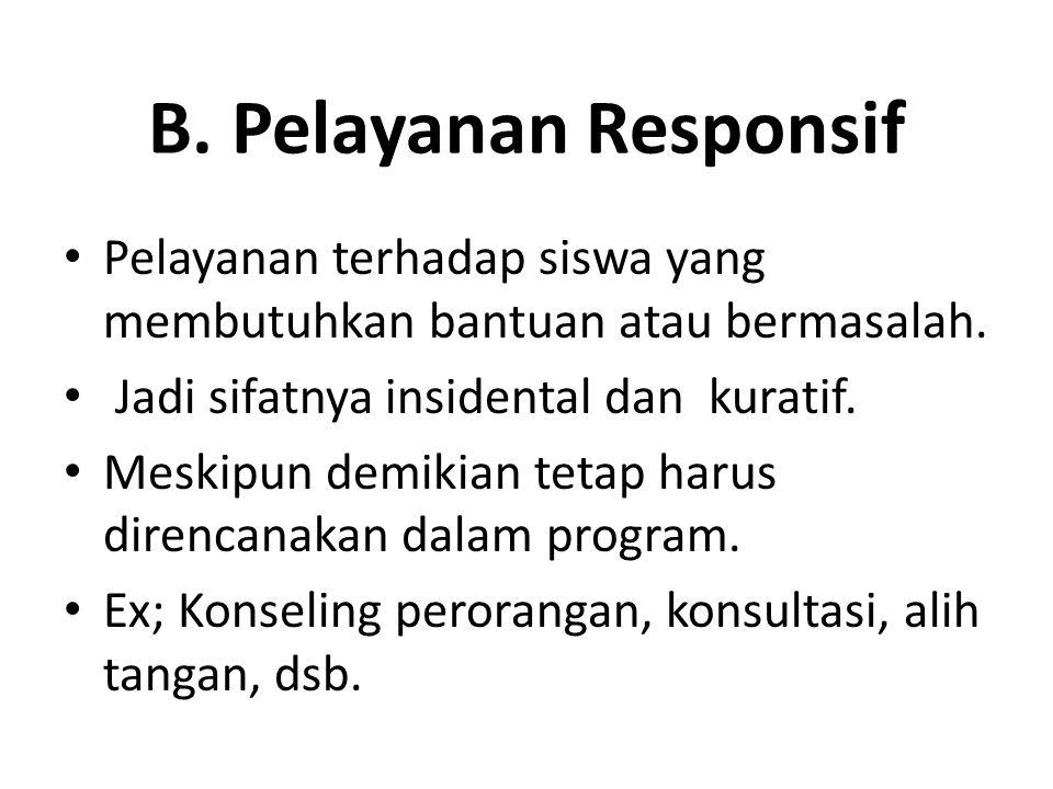 B. Pelayanan Responsif Pelayanan terhadap siswa yang membutuhkan bantuan atau bermasalah. Jadi sifatnya insidental dan kuratif.