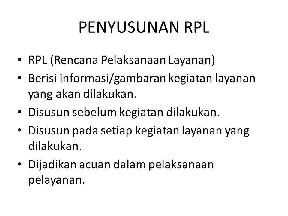 PENYUSUNAN RPL RPL (Rencana Pelaksanaan Layanan)