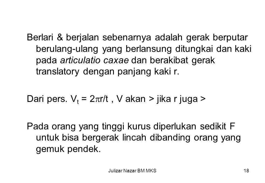 Dari pers. Vt = 2r/t , V akan > jika r juga >