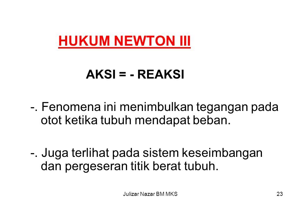 HUKUM NEWTON III AKSI = - REAKSI