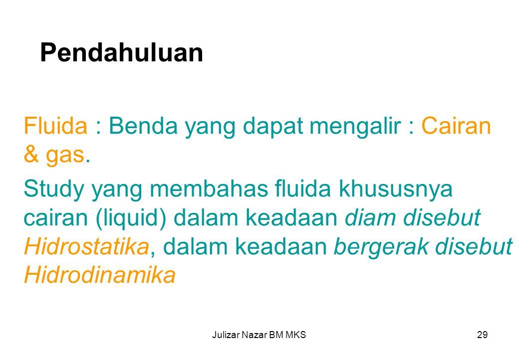 Pendahuluan Fluida : Benda yang dapat mengalir : Cairan & gas.