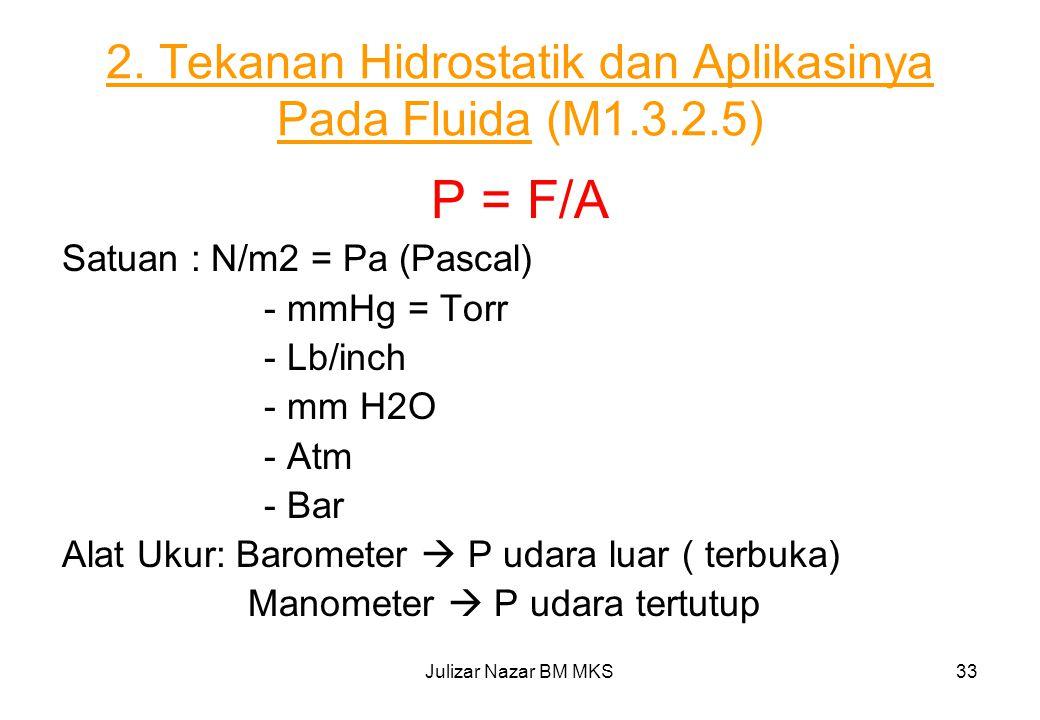 2. Tekanan Hidrostatik dan Aplikasinya Pada Fluida (M1.3.2.5)