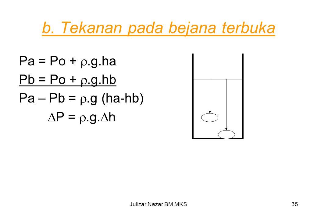 b. Tekanan pada bejana terbuka