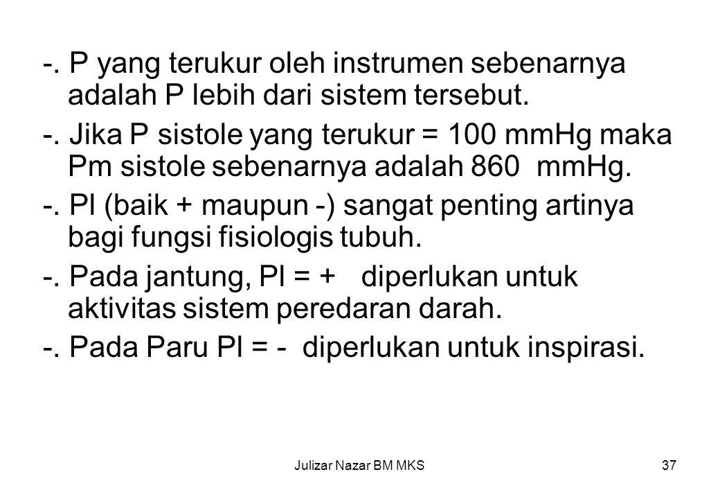 -. Pada Paru Pl = - diperlukan untuk inspirasi.