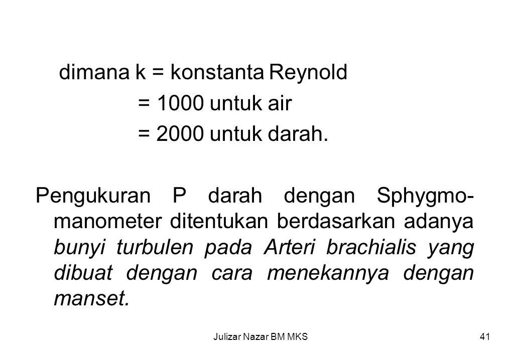 dimana k = konstanta Reynold = 1000 untuk air = 2000 untuk darah.