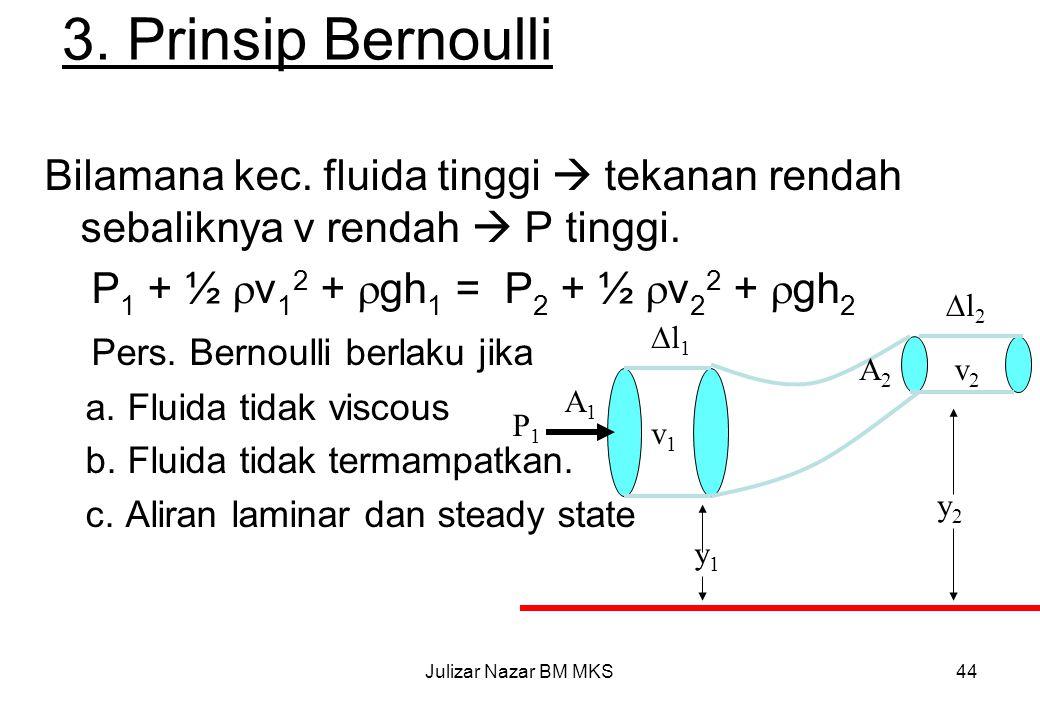 3. Prinsip Bernoulli Bilamana kec. fluida tinggi  tekanan rendah sebaliknya v rendah  P tinggi. P1 + ½ v12 + gh1 = P2 + ½ v22 + gh2.