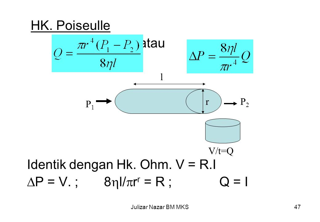 Identik dengan Hk. Ohm. V = R.I P = V. ; 8l/rr = R ; Q = I