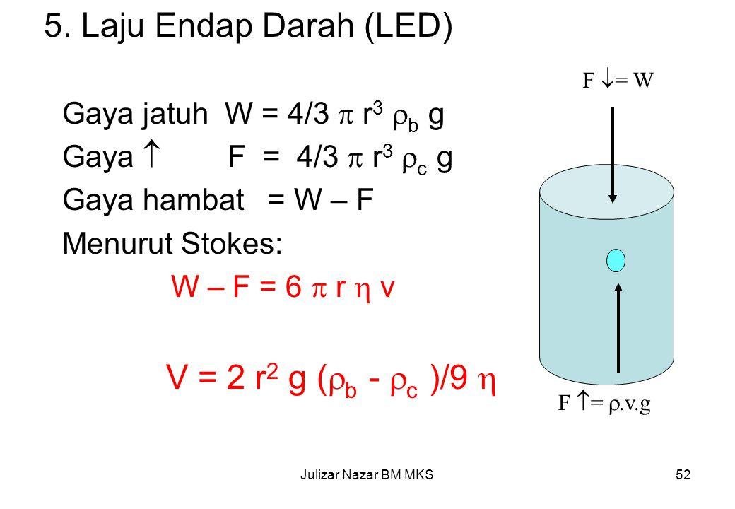 5. Laju Endap Darah (LED) V = 2 r2 g (b - c )/9 