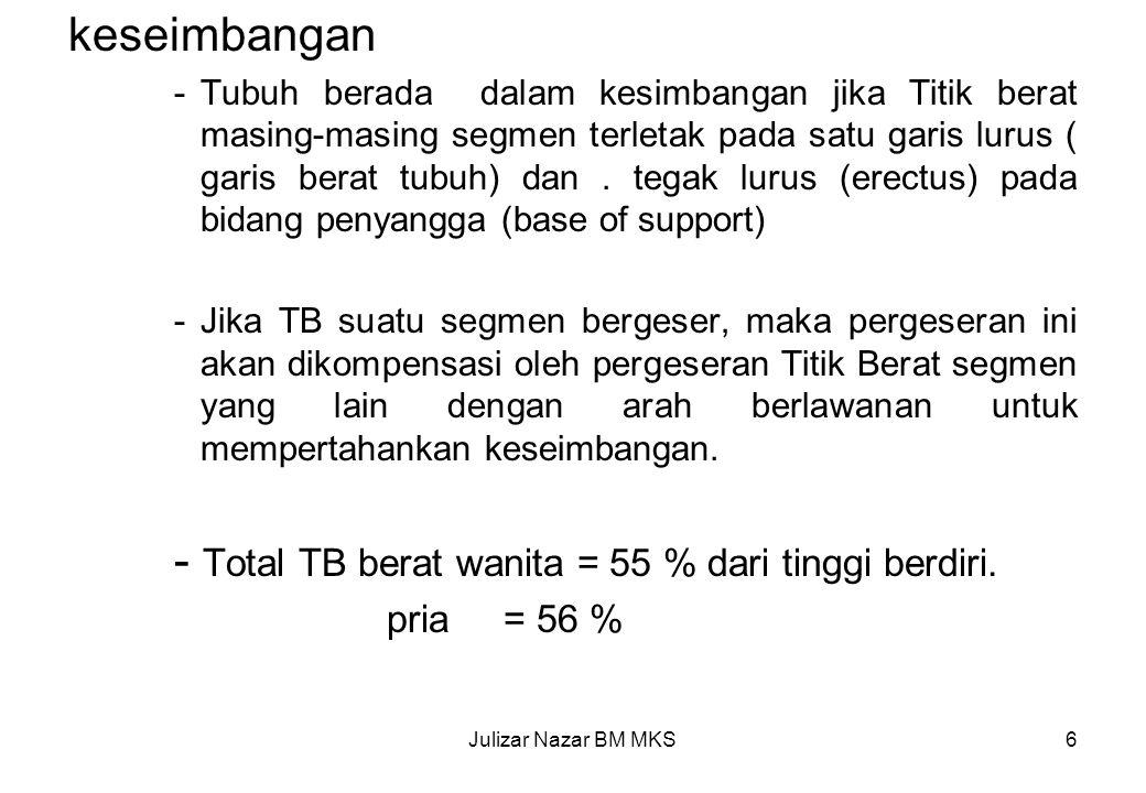 - Total TB berat wanita = 55 % dari tinggi berdiri.