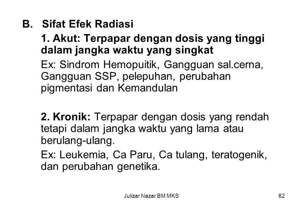 Ex: Leukemia, Ca Paru, Ca tulang, teratogenik, dan perubahan genetika.