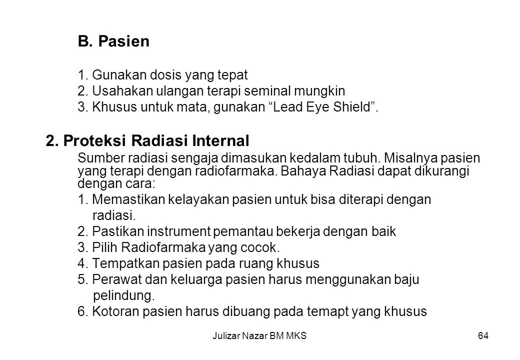 2. Proteksi Radiasi Internal