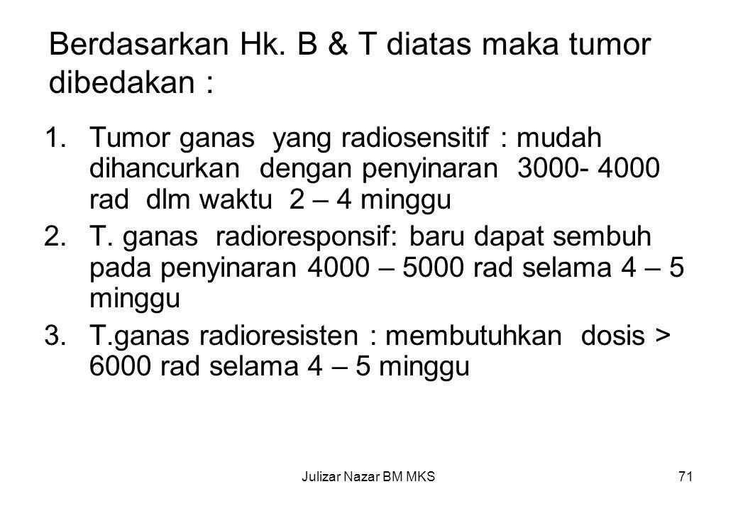 Berdasarkan Hk. B & T diatas maka tumor dibedakan :