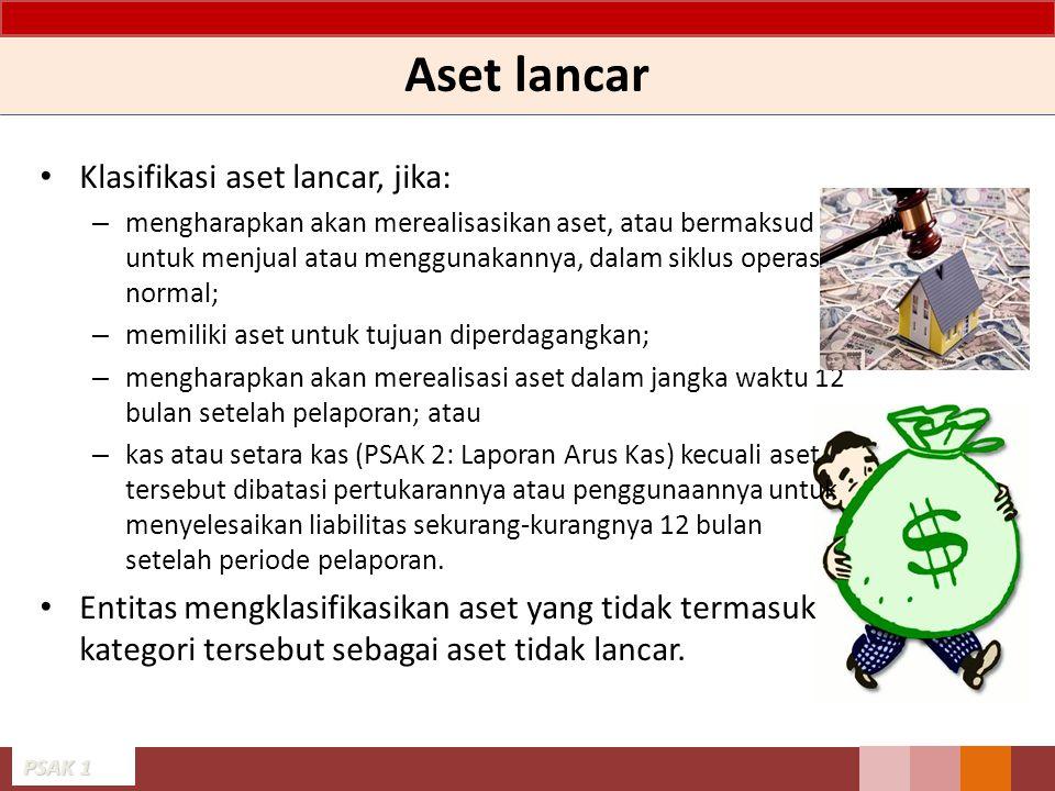 Aset lancar Klasifikasi aset lancar, jika: