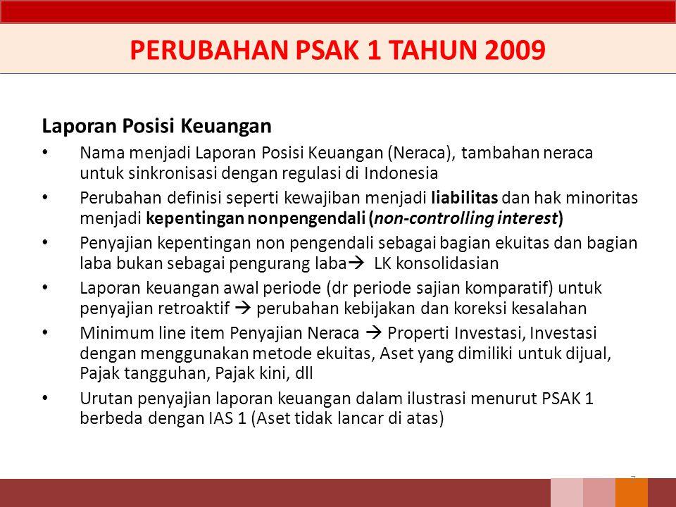PERUBAHAN PSAK 1 TAHUN 2009 Laporan Posisi Keuangan