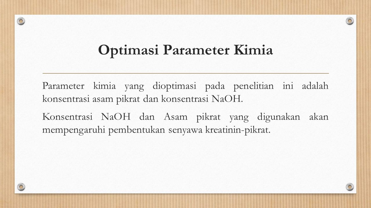 Optimasi Parameter Kimia