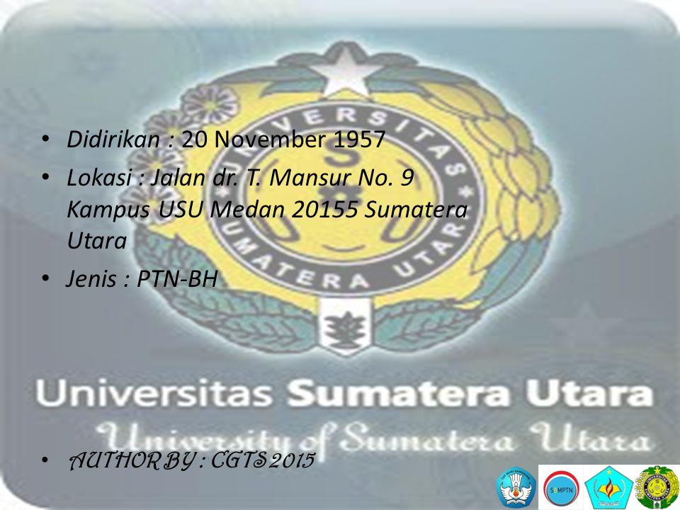 Didirikan : 20 November 1957 Lokasi : Jalan dr. T. Mansur No. 9 Kampus USU Medan 20155 Sumatera Utara.