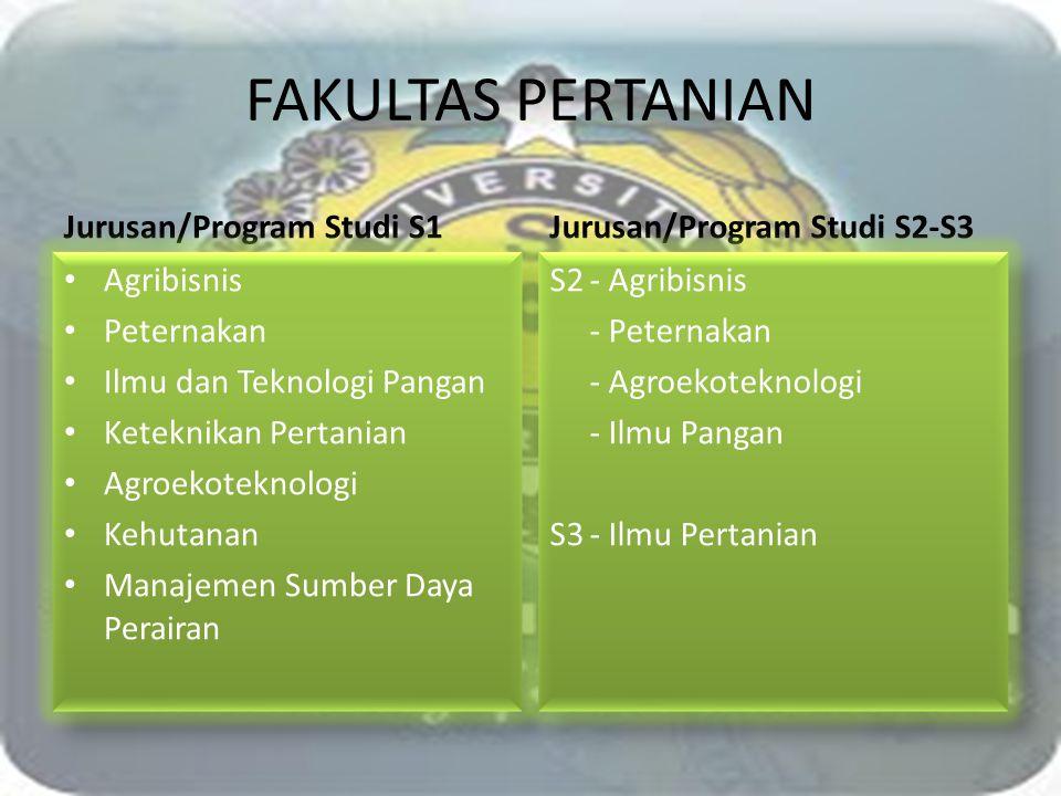 FAKULTAS PERTANIAN Jurusan/Program Studi S1