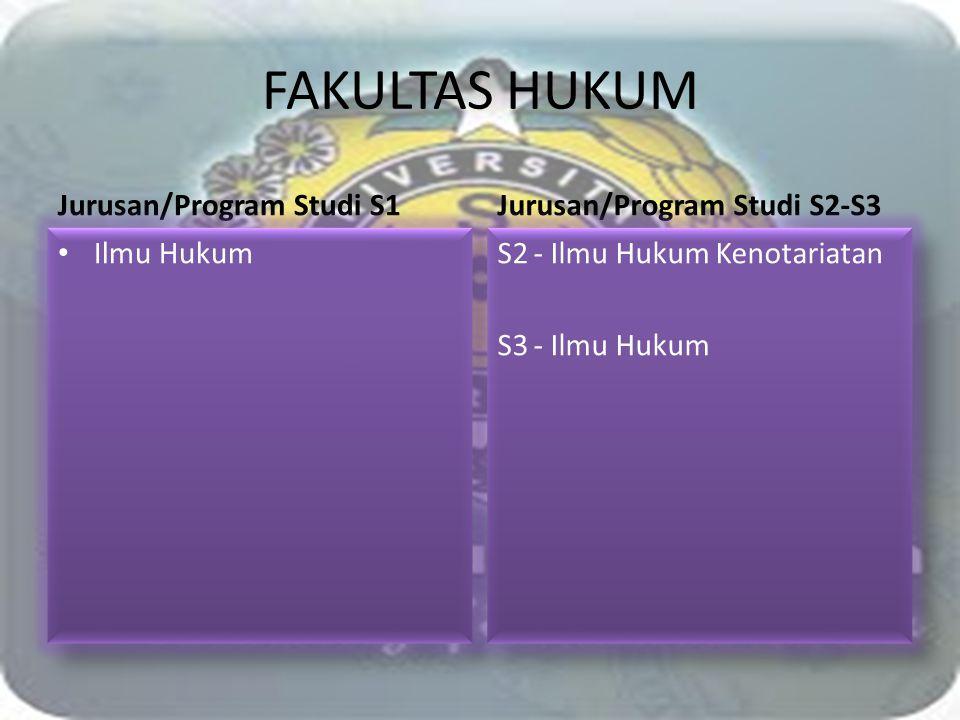 FAKULTAS HUKUM Jurusan/Program Studi S1 Jurusan/Program Studi S2-S3