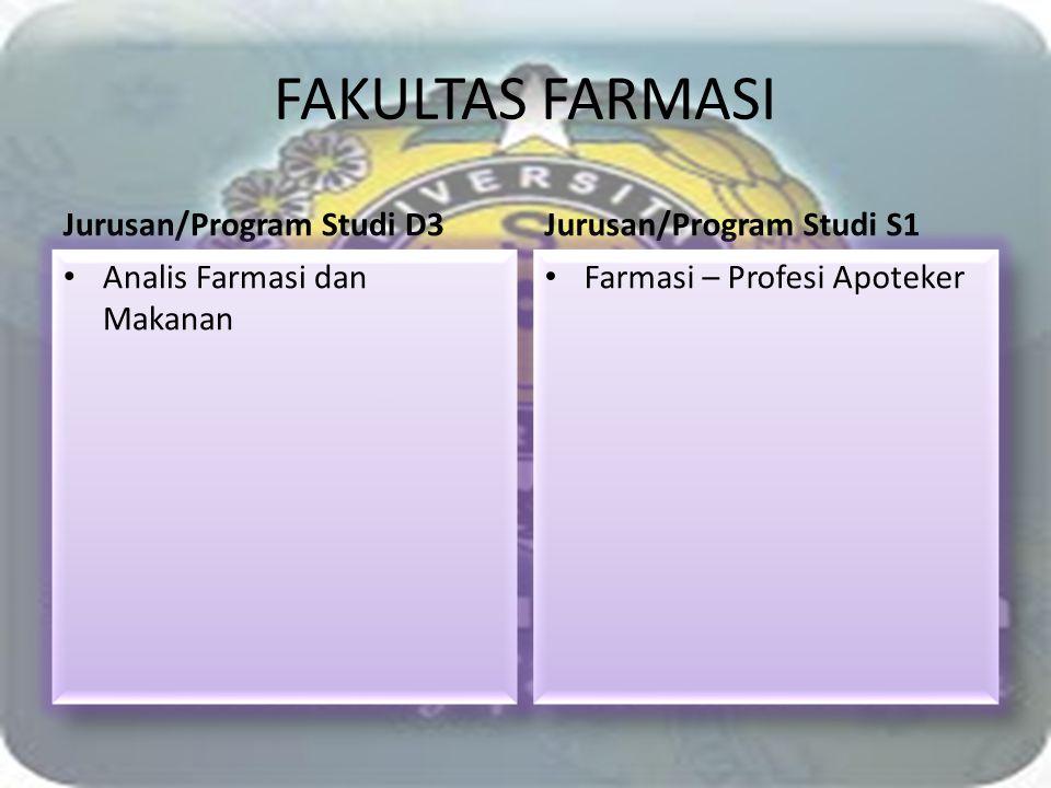 FAKULTAS FARMASI Jurusan/Program Studi D3 Jurusan/Program Studi S1