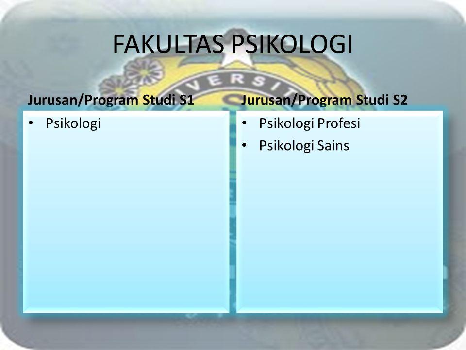 FAKULTAS PSIKOLOGI Jurusan/Program Studi S1 Jurusan/Program Studi S2