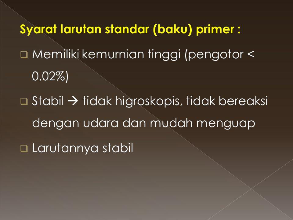 Syarat larutan standar (baku) primer :