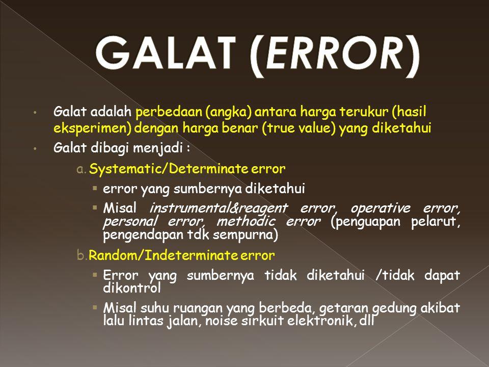 GALAT (ERROR) Galat adalah perbedaan (angka) antara harga terukur (hasil eksperimen) dengan harga benar (true value) yang diketahui.