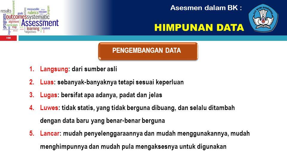 HIMPUNAN DATA Asesmen dalam BK : PENGEMBANGAN DATA