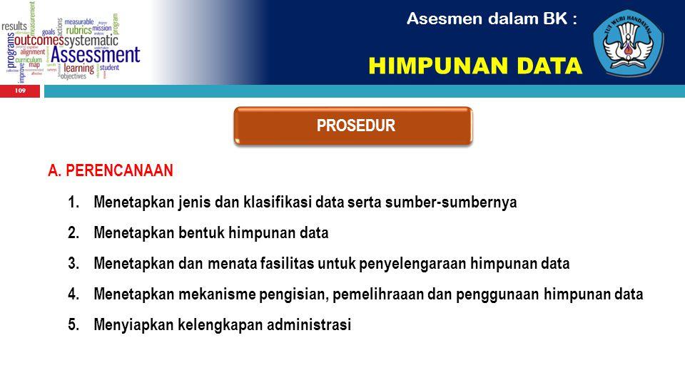 HIMPUNAN DATA Asesmen dalam BK : PROSEDUR A. PERENCANAAN
