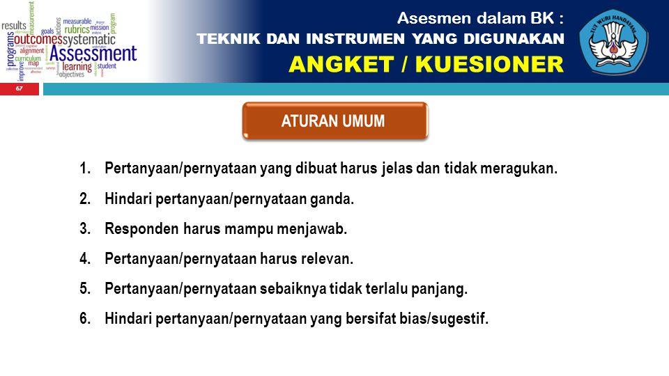 ANGKET / KUESIONER Asesmen dalam BK :
