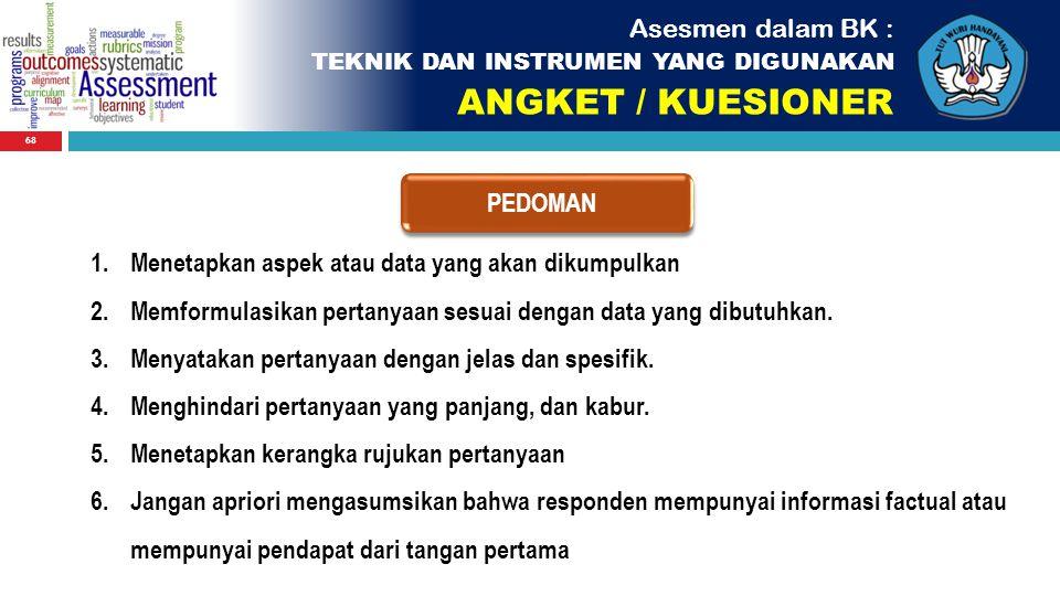 ANGKET / KUESIONER Asesmen dalam BK : PEDOMAN