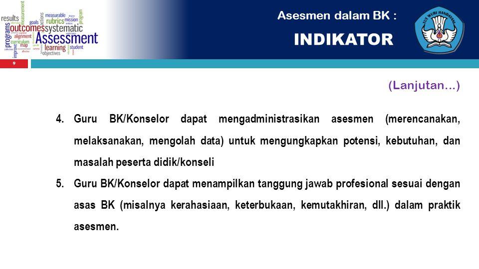 INDIKATOR Asesmen dalam BK : (Lanjutan...)
