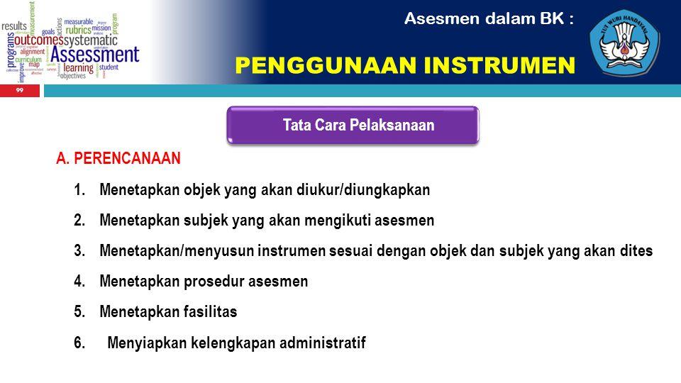 PENGGUNAAN INSTRUMEN Asesmen dalam BK : Tata Cara Pelaksanaan